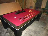 8' RED FELT CONTEMPORARY POOL TABLE WITH BLACK AND