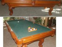 8' SLATE POOL BILLIARD TABLE BALL & CLAW STYLE LEGS
