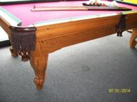 I have an 8' slate swimming pool table in strong oak