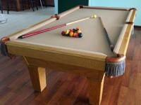 8' USED Oak Tapered Pool Table 8' 3pc Slate Solid Wood