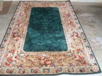 8 x 10 Area Rug Multi Colored Thick Pile Green Leaf/