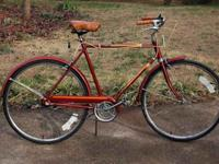 Vintage 1970s touring bike with three speed hub gear