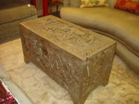 Asian carved camphor wood blanket chest with a pewter