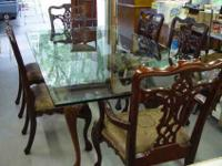 Chippendale Style Dining Room Table with Beveled Glass