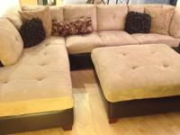11X9 ft sectional couch, cream and dark brown leather,