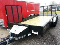 "2014 NEW 82"" X 16' TANDEM STEALTH UTILITY TRAILER,"
