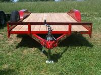 82x18 RED Wood Car Hauler Trailer with MSO new in