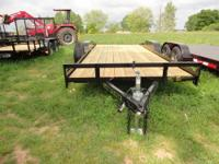 82x18' Wood Floor Car Hauler Trailer Flat  2Brakes