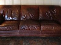 Medium Brown Leather Couch. Classic Design. 88 inches