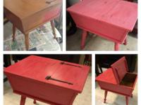 $85 Dough Box Table - Painted & Distressed. Contact