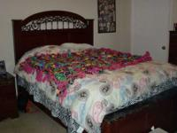 Brand new 3 piece bed set. The bed size is a Queen with