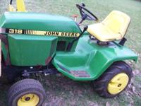 John Deere 318 INCLUDES: single stage 49 snow