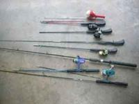 8 poles and reels From serious angler to kids use