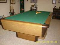 Harvard 8 Ft. Pool Table,Solid Wood Top,cover, rack &