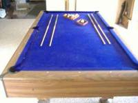 5 yr old kasson purple cloth pool sticks and wall mount