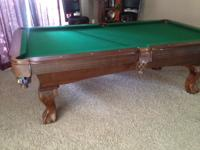 8 ft sportcraft pool table with ball rack, cue sticks
