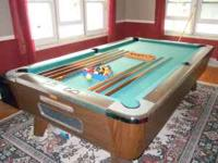 8' Valley Pool Table includes set of balls, 7 sticks (6