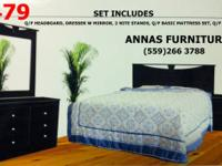 SET INCLUDES: Q/F HEADBOARD, DRESSER W MIRROR, 2 NITE