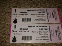 2 three day tickets to Nothwoods Rock Rally Aug 14-16