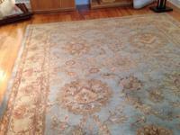 Hand tufted, feminine bluish Oushak rug. 8x10. I bought