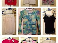(9) Girl's Tops   Size: 10 - 12  Brands: Justice &