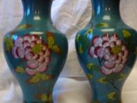 "Cloisonne Vases, approximately 9"" tall (vary just"