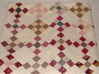 patch square scrap quilt. New 46 inches Hand sewn