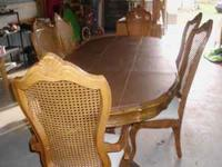 "Beautiful oak diningroom set! Table 84"" opens to 120"""