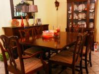 6 chairs 2 pedestal table with ball and claw feet,