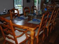 9 PIECE DINING ROOM SET LIGHT OAK FINISH TABLE 42X86