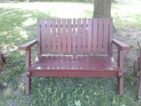 9 Pieces of Redwood Patio/Deck Furniture.  Bench,