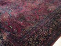 9' x 12' Persian Sarouk rug. Hand-woven, cordless. From