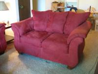 Rich red color, very comfortable. It's 5 1/2' wide by