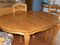 Honey Oak Formal Dining Table and Chairs 6 chairs- two