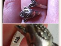Vintage 925 Silver marcasite dolphin ring sz 8.5