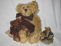 This is a set of 2 plush bears and 1 figure by Boyds