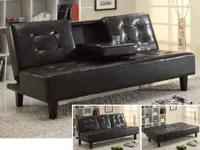 A Black Leather Sleek Futon for Sale in Walnut, California ...