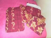 Curtains set 4 piece set bonus bed skirt...burgundy and