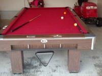 BEAUTIFUL 9'' GANDY POOL TABLE. EXCELLENT CONDITION.