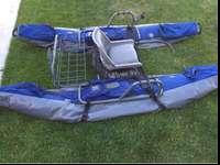 9ft pontoon boat with lots of pockets! Built in motor