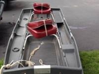 For sale is 9 ft plastic tracker boat. With 36 thrust