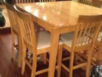 Solid oak butcher block 9 piece pub set in very good