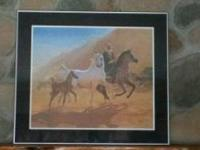 Beautiful matted and framed Arabian mare and foal. 30 ""