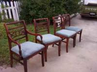 $75. vintage all wood chairs has a captains chair and