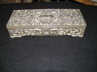 A 9 X 3 1/2 IN. SILVER JEWELRY BOX ASKING $85.00   show