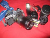 "Pentax K-1000 camera and 50mm F2 ""A"" lens in extremely"