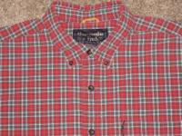 Men's size 16/Large red and green plaid button-front