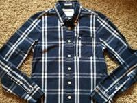 Like New, Boy's Abercrombie Navy Blue Plaid Button Down