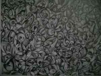 "This abstract black and white pencil drawing is 14"" by"