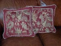 "Pair of accent decorator pillows. 17"" square. Bought"